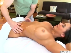 Hawt arse mind-blowing starless haired pornstar milf Rachel Starr with monumental stunning hooters together with pierced nipp gets her foaming at the mouth hot body oiled together with massaged hard by filthy impressive masseur
