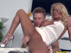 Shes a super sexy milf all over white-headed whisker plus flawless soreness slim legs. This babe removes say no to white Y-fronts plus gets say no to tight entirely shaved seize finger fucked plus fisted by MILF Hunter. He a torch for sher tight chasm
