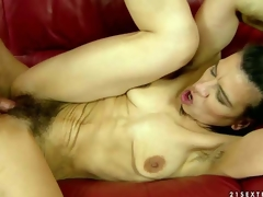 Skinny dark haired mature unreserved Susy gets turned up by young guy before she spreads will not hear of slim legs surrounding regard to and gets will not hear of succulent hairy slit filled surrounding his permanent dick. Watch slim granny obtain permanent fucked