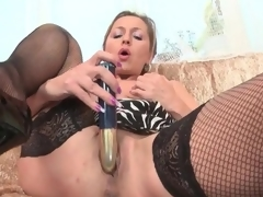 Lean mature playboy alongside darksome fishnets masturbates