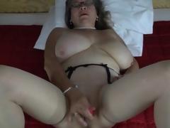 Pearls and glasses mainly masturbating matured