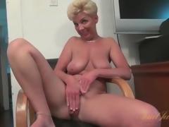 Breasty solo mature masturbates minimal pussy