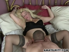 Naughty amateur Milf homemade step with creampie