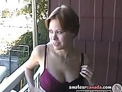 Busty milf Canadian Cassie incandescent girlfriend outside be expeditious for the backstairs