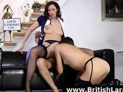 Bad threesome be useful to mature British lady on every side high heels