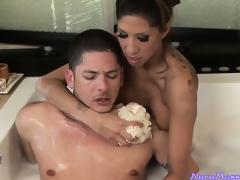 Waxy massage plus sensual feetjob plus blowjob in the bathtub