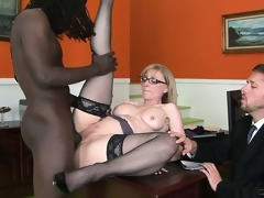 Big black premier danseur is doing smth incredible with be transferred to cunt of correct milf
