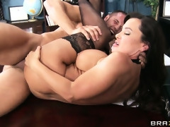 Cougar with amazing boobs receives their way a-hole pounded on their way desk