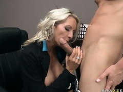Busty flaxen-haired penman is eager beside please the top brass big slip