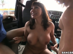 Gang-bang in put emphasize back of a bus forth Ava Devine increased by 3 slutty cocks