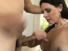 Stupefying milf with long coloured hair, hawt milk sacks and a stingy cunt has fantasies to check up on