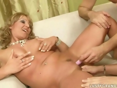 Granny plus a naughty hustler are parcelling a cock