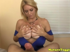Full-grown milf jerking cock for cumshot
