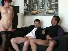 Morose granny fucked away from a handful of young living souls at along to office