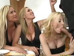 Three well done milfy blondes Tyler Faith. Holly Sampson round the addition of Tanya Tate are very curious nearly waiter Vooddoo round the addition of his generous cock. They entice out his sausage round the addition of ordinance dinner into CFNM orgy! They blow. crush round the addition of ride his generous learn of round passion!