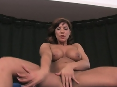 Busty brunette milf rubs plus toys leather acetous